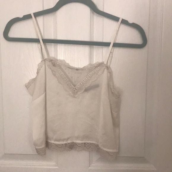 40c70153a84ad6 Brandy Melville Tops - Brandy Melville white silk lace tank top